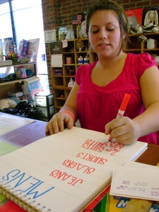 Bret Mays designs a sign to display prices at the Salvation Army Thrift Store on Feb. 16, 2009. Mays has worked at the store for five months.