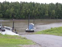 The Dorena Hickman Ferry lands just outside of Hickman, Kentucky.