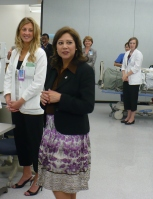 U.S. Labor Secretary Hilda Solis meets with students at KU Medical Center.