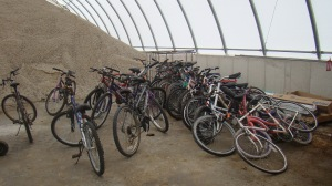 Bikes sit in Moberly's City Street Barn.