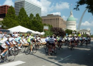 Riders sprint through downtown St. Louis in the opening stage of the 2009 Tour of Missouri.